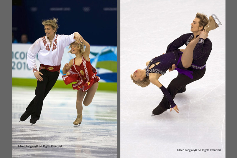 Penny Coomes and Nick Buckland (Great Britain) performing their original dance (left) and their Tango Romantica Compulsory Dance (right)  during the skating competition of the 2010 Vancouver Winter Olympic Games.