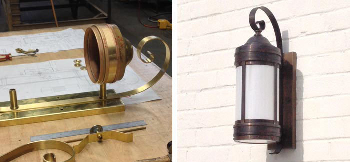 Reproduction circa 1930 solid brass outdoor wall brackets and larger matching post top lanterns for municipal historic site