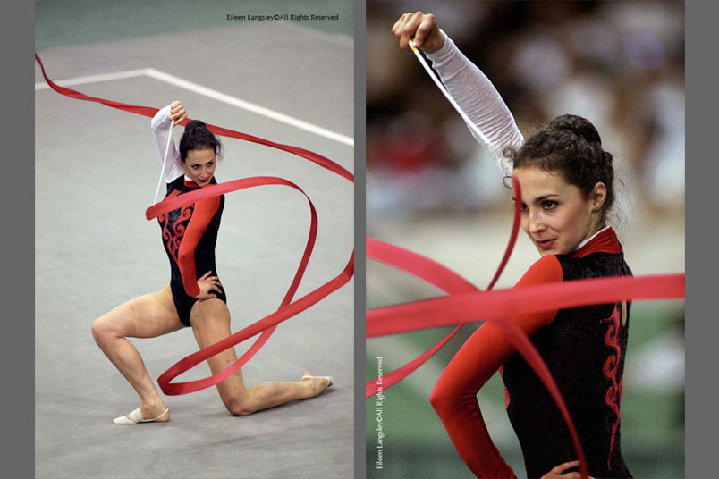A double image of Rhythmic Gymnast Maria Petrova (Bulgaria) competing with the Ribbon at the 1996 Atlanta Olympic Games.