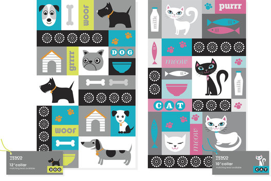 Surface pattern and packaging for a range of products for pets.