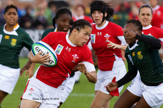 Action from the Wales versus South Africa match at the 2010 Women's World Cup Rugby at Surrey Sports Park August 24th.