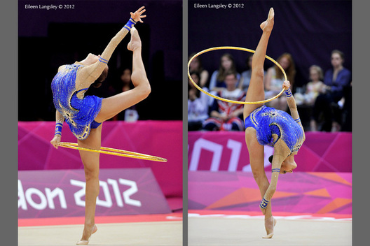 Evgeniya Kanaeva (Russia) competing with Hoop during the Rhythmic Gymnastics competition of the London 2012 Olympic Games.