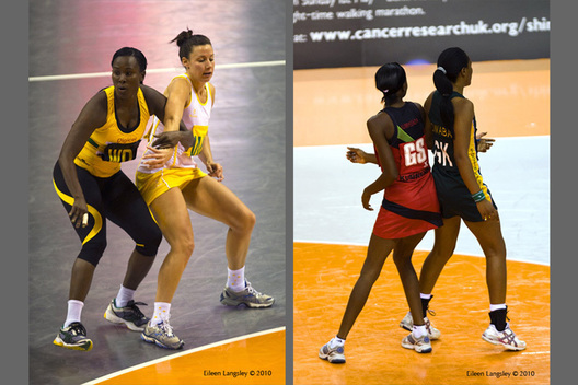 A double image from the 2010 World Series Netball Championships in Liverpool showing unfair physical play in the match between Jamaica and Australia (left) and Malawi and South Africa (Right).