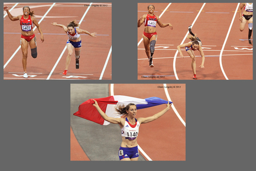 Marie Amelie le Fur (France) takes a tumble but stil wins the 100 metres T44 race during the Athletic competition at the London 2012 Paralympic Games.