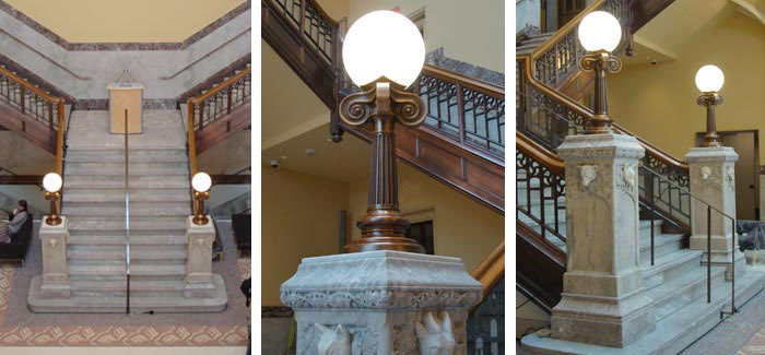 Reproduction solid cast bronze newel post lantern with antique oxidized finish to match existing heritage stair