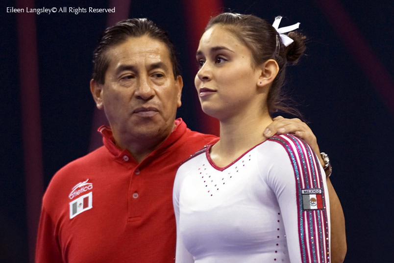 A cropped portrait image of Elsa Blancas Garcia Rodriguez (Mexico) and her coach as she prepares to compete.