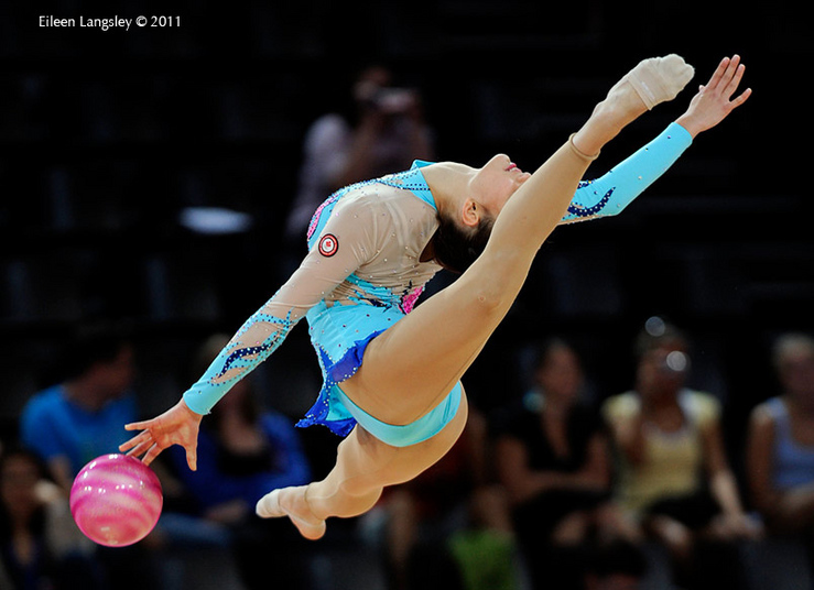 Maria Kitkarska (Canada) competing with Ball at the World Rhythmic Gymnastics Championships in Montpellier.