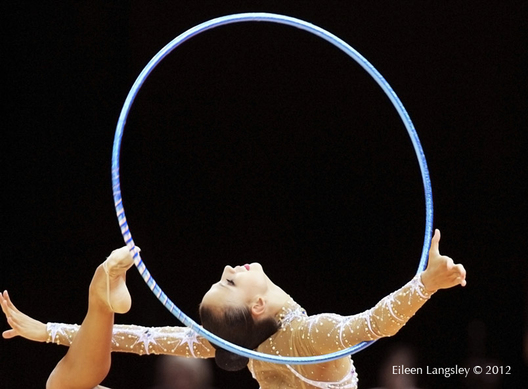 Daria Dmitrieva (Russia) competing with hoop in the Rhythmic Gymnastics competition at the 2012 London Summer Olympic Games.