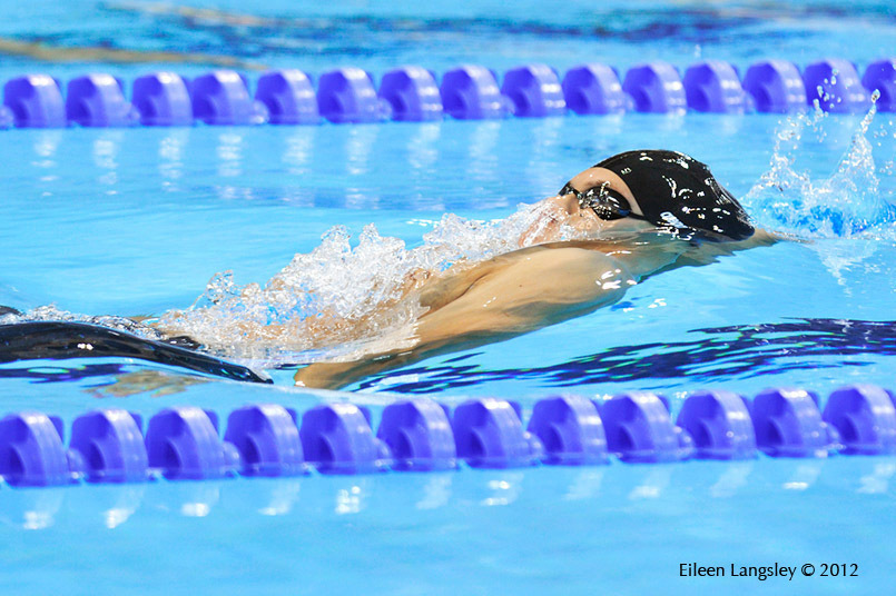 A blurred motion image of China's Lu Xiaobing competing in a backstroke race at the London 2012 Paralympic Games.