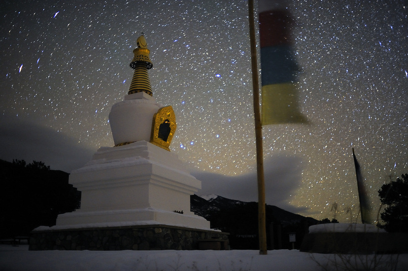 A 30-second exposure captures the billiant star filled sky above the Enlightenment Stupa near Crestone, CO. Michael Brands for The New York Times.