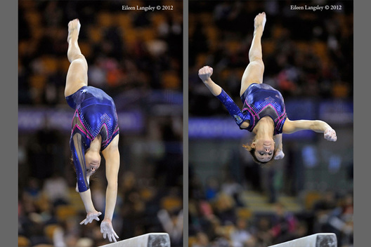 Vanessa Ferrari (italy) competing on Balance Beam at the 2012 FIG World Cup in the Emirates Arena