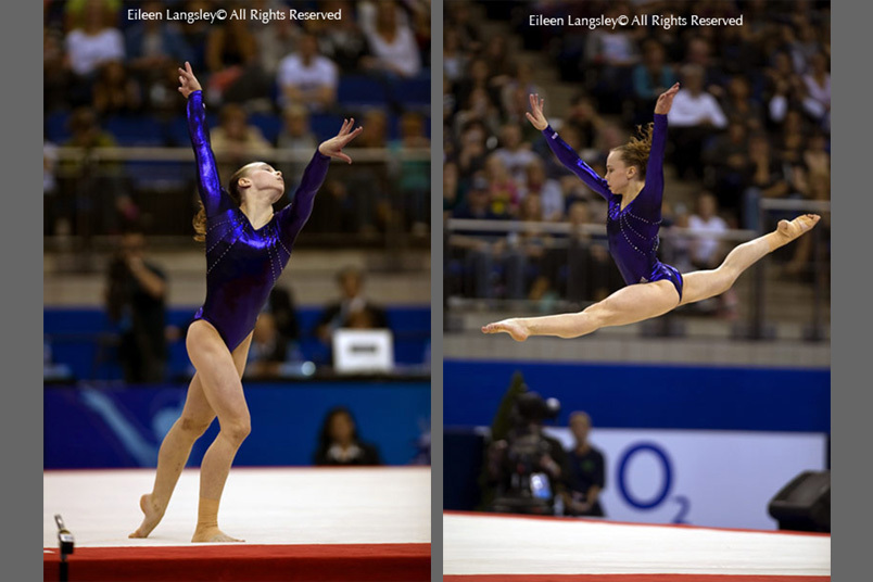 Rebecca Bross (USA) competing on floor exercise at the 2009 London World Artistic Gymnastics Championships.