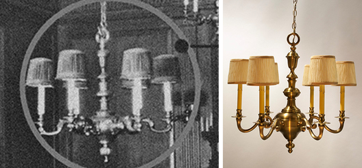 Interpretation of lost original interior heritage solid brass chandelier from photographic evidence