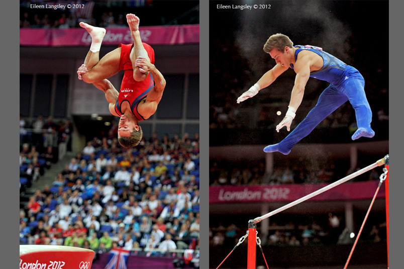 Samuel Mikulak (USA) competing on Vault and High Bar at the Gymnastics competition of the London 2012 Olympic Games.