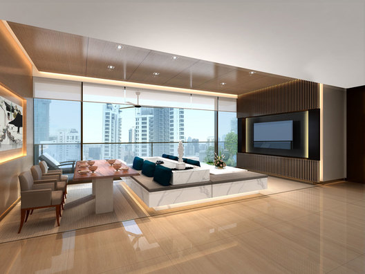 Living room of a contemporary luxury residential condominium home interior in Ardmore III in Singapore designed by AND lab.