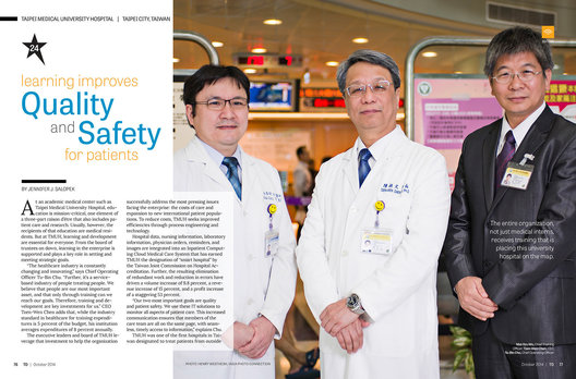 Taipei Medical University Hospital, Taipei, Taiwan, was highlighted in T+D Magazine's The BEST awards issue, an annual feature featuring top international organizations who demonstrate enterprise-wide success as a result of employee learning and development. Pictured are Mai-Szu Wu, M.D., Chief Training Officer (CTO), Tzen-Wen Chen, M.D., Ph.D, Chief Executive Officer (CEO), and Tu-Bin Chu, MS, MHA, Ph.D., Chief Operating Officer (COO).