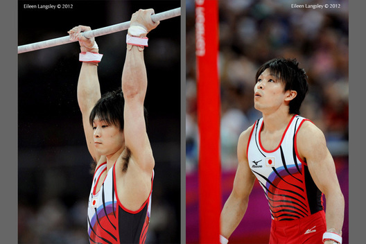 Kohei Uchimura (Japan) competing on High Bar during the Artistic Gymnastics competition of the London 2012 Olympic Games.