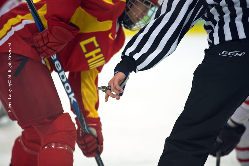 A generic image of the hand of a referee at the Women's Ice Hockey match between China and Switzerland at the 2010 Winter Olympic Games in Vancouver.