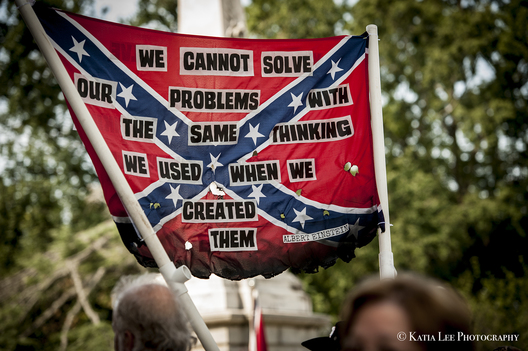 Counter protesters at event where the S.C. Secessionist Party raises the Confederate flag on the anniversary of its removal from the State House grounds.  The removal was prompted after a self-proclaimed white supremacist fatally shot nine black church members of Emanuel AME Church in Charleston S.C., July 10, 2017