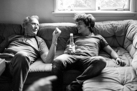Clint Eastwood and Jamie Cullum, photographed while recording the soundtrack for the film 'Gran Torino'.