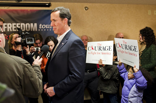 At a press conference for Rick Santorum, Senetor Santorum meets with supporters.