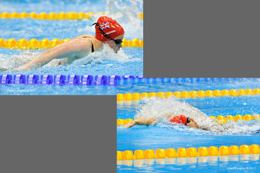 Gemma Almond (Great Britain ) competing in the 100 metres butterfly S10 (left) and Stephanie Millward competing in the 100 metres backstroke S9 at the 2012 London Paralympic Games.