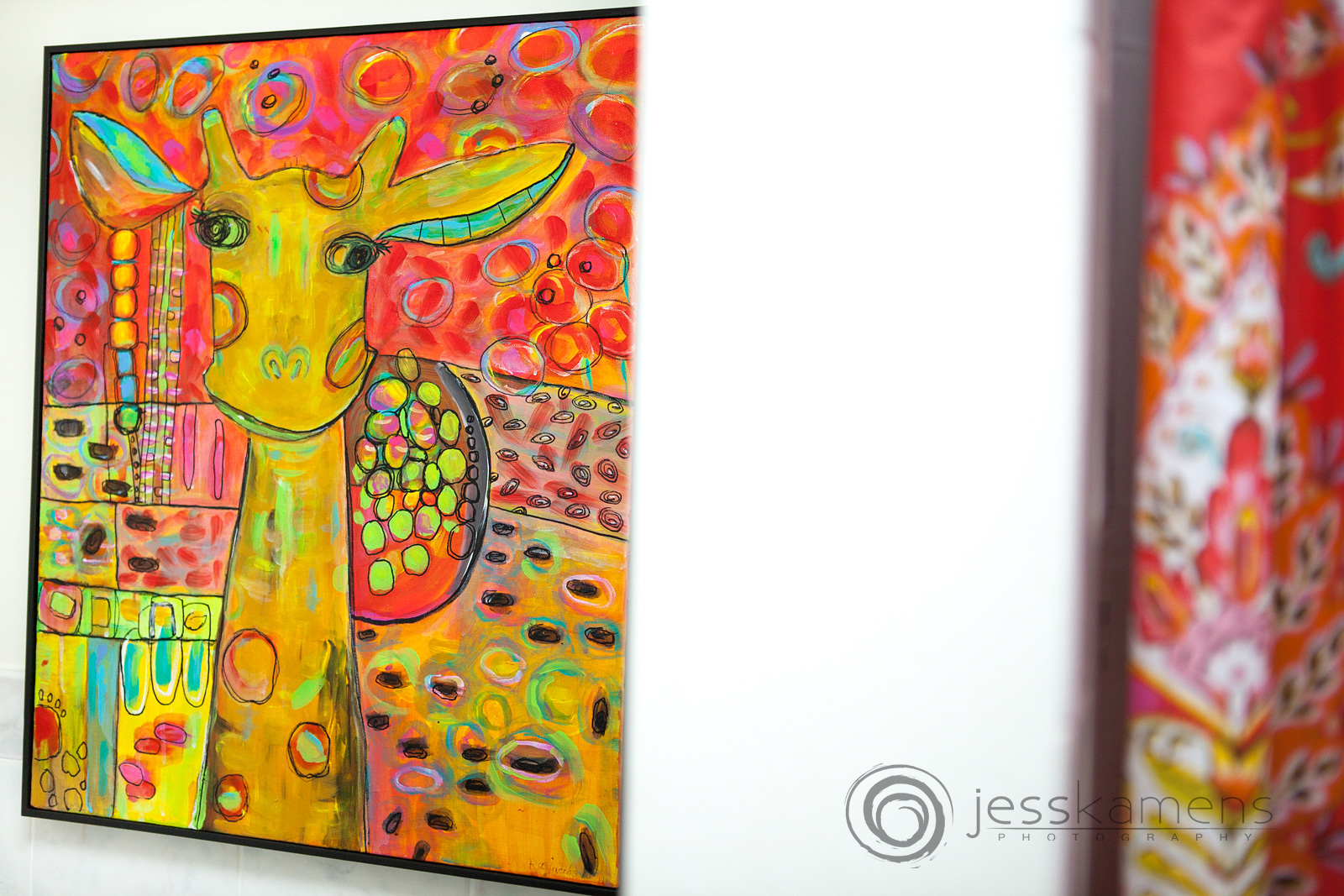 a painting of a giraffe using mainly warm colors by Renée A. Schuls-Jacobson