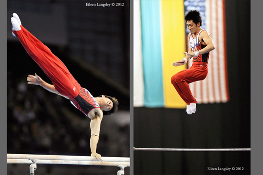 Kazuhito Tanaka (Japan) competing on Parallel Bars and High Bar at the 2012 FIG World Cup in the Emirates Arena Glasgow December 8th