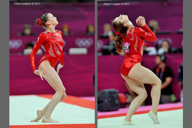 Rebecca Tunney left and Jenni Pinches right (both Great Britain) competing on floor exercise during the Gymnastics competition at the London 2012 Olympic Games.