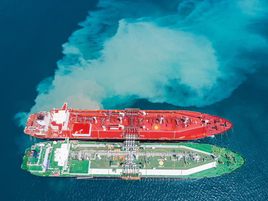 top down photo of oil tankers side by side