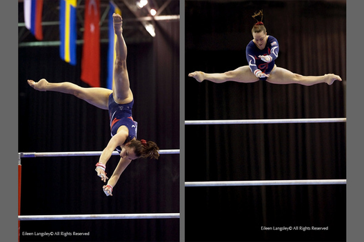 A double image of Britain's Beth Tweddle training (left) and competing (right) on the asymmetric bars at the 2010 European Gymnastics Championships in Birmingham