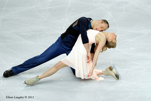 Nelli Zhiganshina and Alexander Gazsi (Germany) competing in the Pairs event at the 2012 European Figure Skating Championships at the Motorpoint Arena in Sheffield UK January 23rd to 29th.