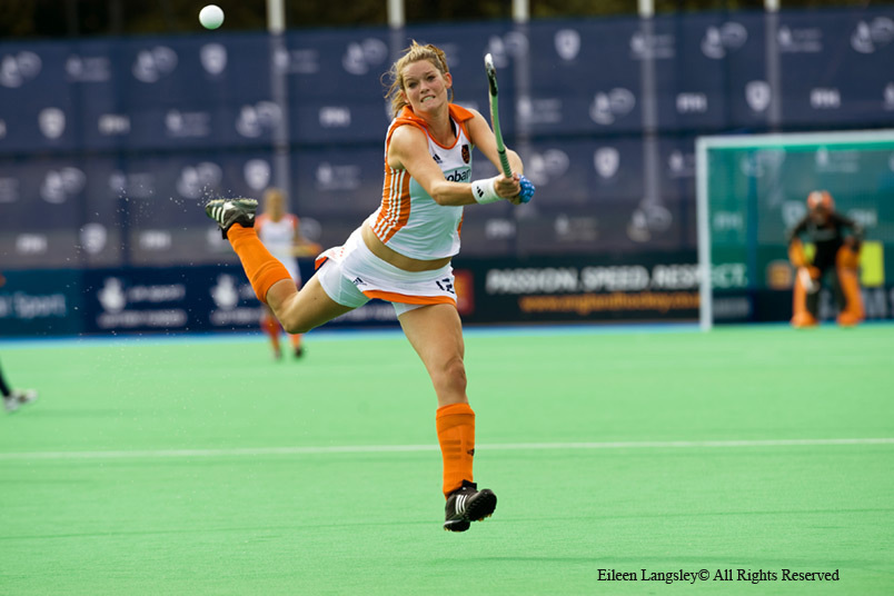 An action image of Lidewij Welten showing quick reactions and ball control as she goes on the attack during the England Versus Netherlands match at the 2010 Women's World Cup Hockey Tournament in Nottingham