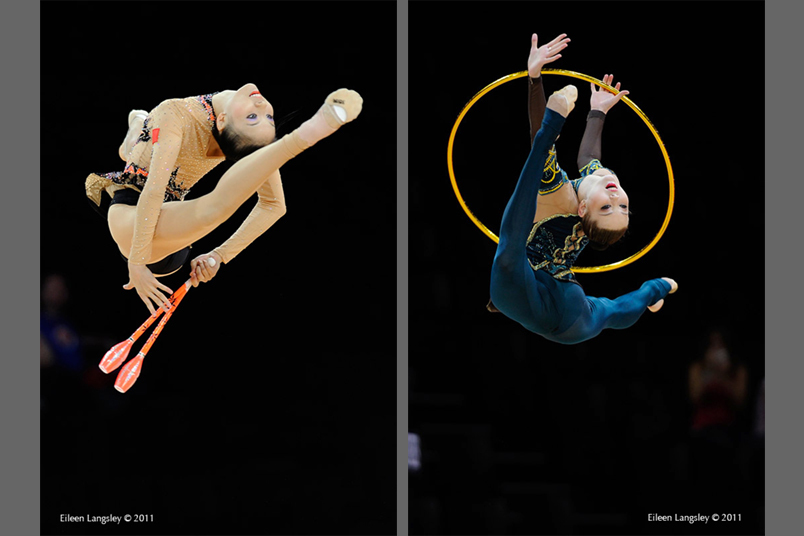 Deng Senyue (China) and Alina Maksymenko (Ukraine) perform spectacular leaps while competing with Clubs and Hoops at the World Rhythmic Gymnastics Championships in Montpellier.