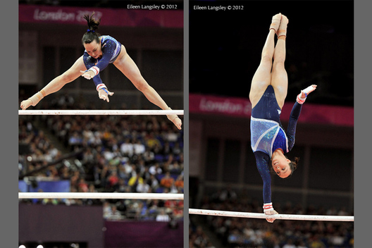 Beth Tweddle (Great Britain) competing in the asymmetric bars final at the London 2012 Olympic Games.