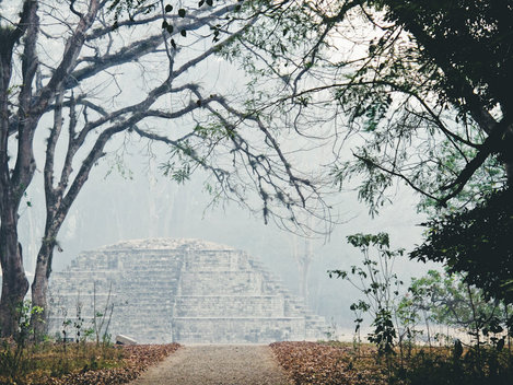 Fog and Mayan temple in Copan Ruinas, Honduras