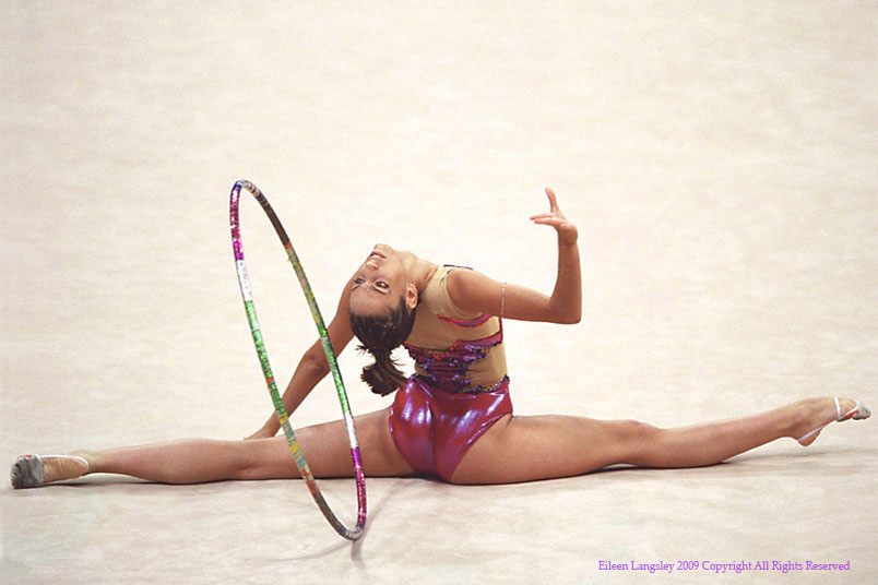 Almudena Cid Tostado (Spain) competing with the Hoop during the 2002 Madrid World Rhythmic Gymnastics Championships.