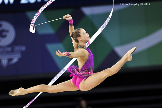 Frankie Jones (Wales) competing with Ribbon during the Rhythmic Gymnastics competitions at the 2014 Glasgow Commonwealth Games.