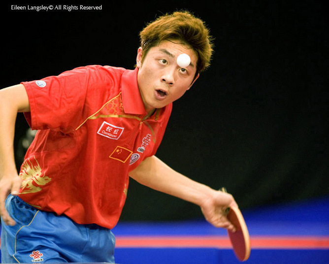 Xu Xin (China) in action at the 2009 English Open Table Tennis Championships at the English Institute of Sport, Sheffield.