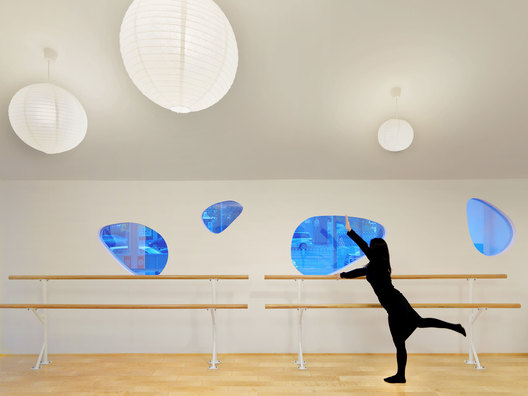 Ballet Dance room of ART PLUS I, a Children Performing Art Education Center designed by Singapore-based AND lab in Beijing
