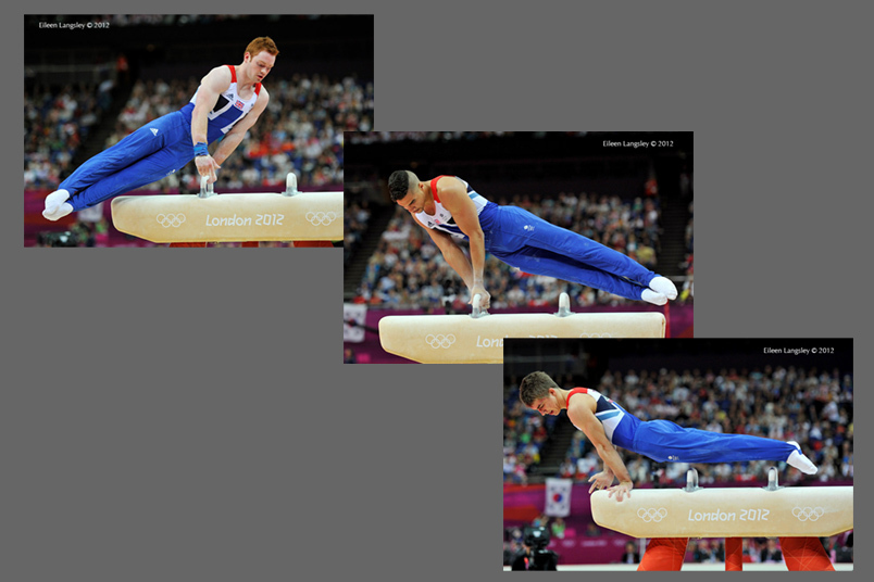 Daniel Purvis, Louis Smith and Max Whitlock (Great Britain) competing on Pommel Horse during the team competition of the Gymnastics event at the 2012 London Olympic Games.