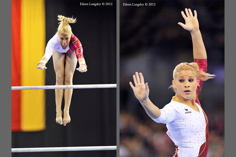 Elizabeth Sietz (Germany) competing on asymmetric bars ans floor exercise at the 2012 FIG World Cup in the Emirates Arena