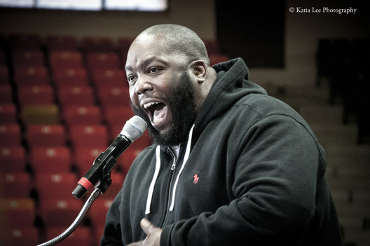 Killer Mike introduces Bernie Sanders at Claflin University in Orangeburg SC on the HBCU (Historically Black Colleges and Universities) Tour February 2016
