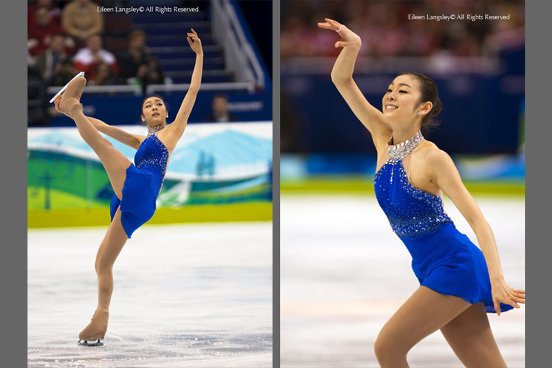 A double image of Yu Na Kim (Korea) performing her Free programme at the 2010 Vancouver Winter Olympic Games