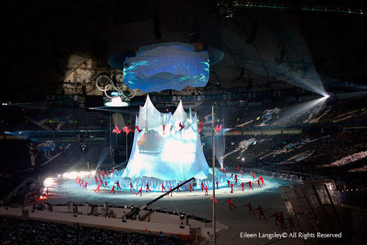 A spectacular aerial snow sport show during the Opening Ceremony of the 2010 Vancouver Winter Olympic Games.