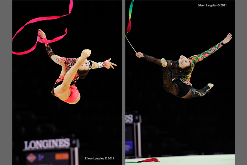 Spectacular leaps from Mizana Ismailova (Kazakhstan) left and Mariam Chamilova (Canada) right at the 2011 World Rhythmic Gymnastics Championships in Montpellier.