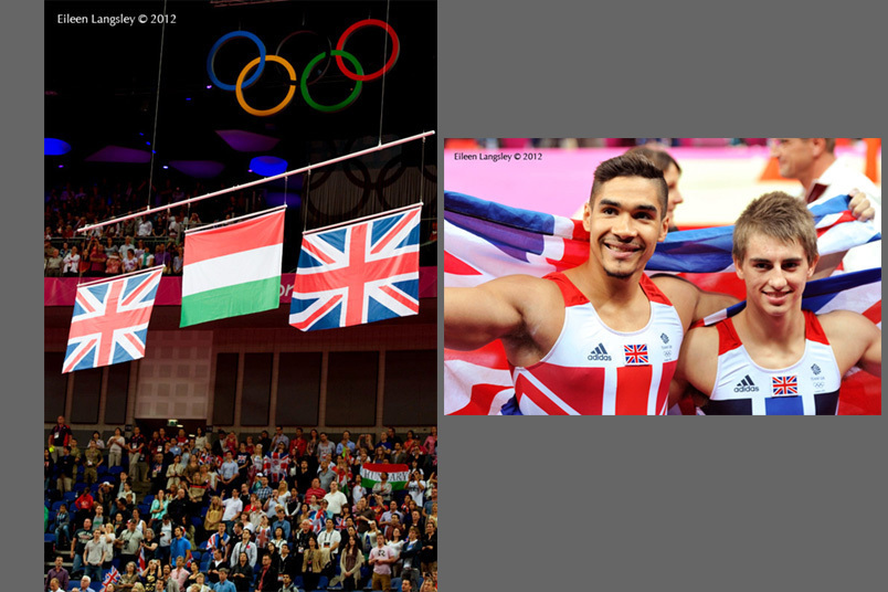 Louis Smith and Max Whitlock (Great Britain) win the silver and bronze medals in the Pommel Horse final at the 2012 London Olympic Games.