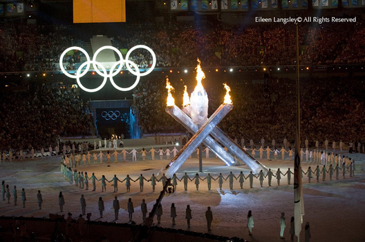 A colourful and spectacular Opening Ceremony finishes with thel ighting of the flame of the 2010 Vancouver Winter Olympic Games.