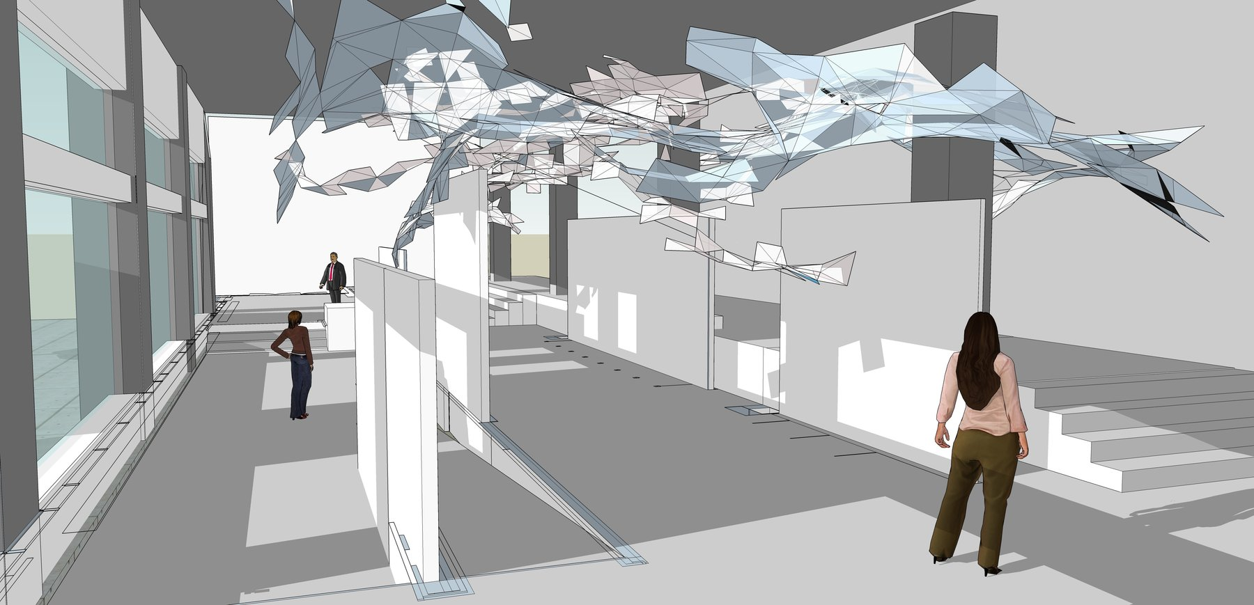 "This is a proposal rendering for a full-scale installation of the work ""Smoke"" at the DCCAH Gallery on I Street in Washington, DC