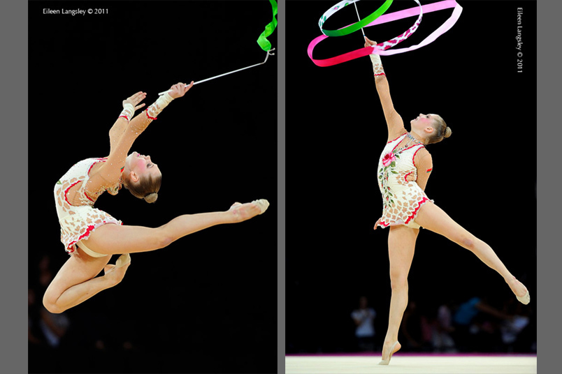 Hanna Rabstava (Belarus) competing with Ribbon at the World Rhythmic Gymnastics Championships in Montpellier.